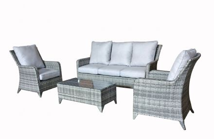 Sarah High back 5 seater sofa set in Grey with Silver Grey cushions